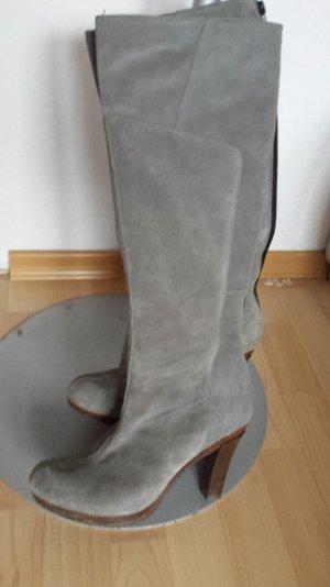 W. Neu Scholl Overknee Stiefel Echt Wildleder Plateau Boots Volleder Grau 39