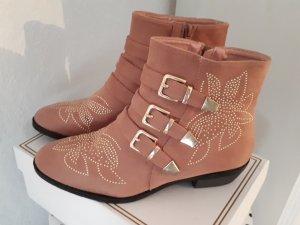 W&S Ankle Boots Stiefelette Nieten Velour Rose Altrosa Gr. 40
