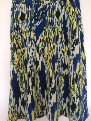 wadenlanger Rock von Monki, blau-schwarz-gelb-weiss gemustert