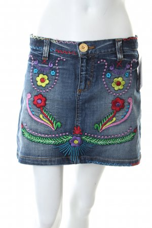 Waggon Jeansrock florales Muster Street-Fashion-Look