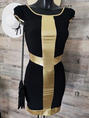 Wahnsinns Kleid  NEU ✔Gold Detail Stretch Kleid Abendkleid Cocktailkleid Partykleid Business Kleid Festliches Kleid England passt bei Größe 36/38