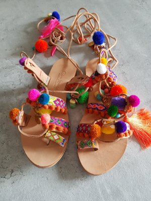 Elina Linardaki High-Heeled Toe-Post Sandals natural white