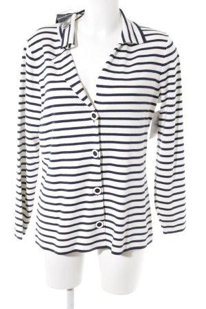 Walbusch Cardigan weiß-dunkelblau Streifenmuster Casual-Look