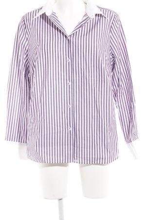 Walbusch Hemd-Bluse weiß-blauviolett Streifenmuster Business-Look