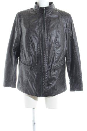 Walbusch Kunstlederjacke schwarz Punktemuster 90ies-Stil
