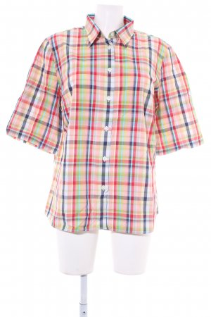 Walbusch Kurzarm-Bluse Karomuster Casual-Look