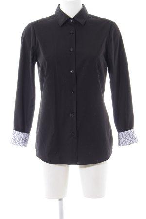 Walbusch Langarmhemd schwarz-weiß Business-Look