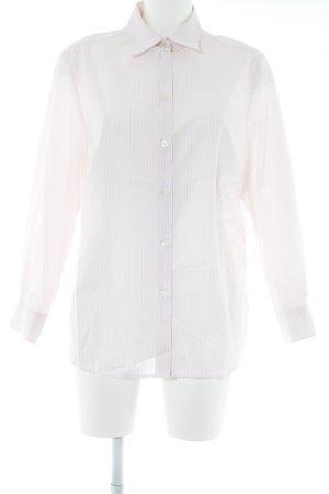 Walbusch Langarmhemd weiß-rosé Streifenmuster Business-Look