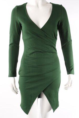 Waldgrünes Langarm Kleid Wickeloptik