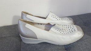 Waldläufer Damen Luftpolster Slipper Halbschuhe Mokassins weiß silber Größe 42