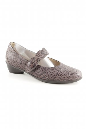 Waldläufer Mary Janes black-light brown flower pattern extravagant style