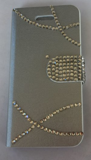 Wallet Case *Apple iPhone 5 / 5S* Silber Strass