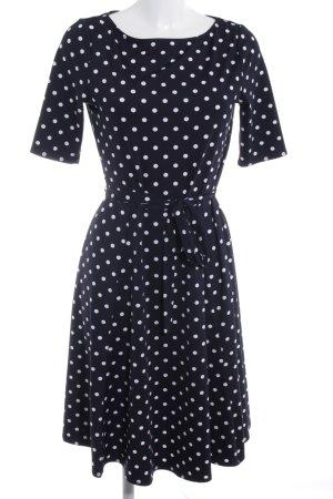 Wallis A-Linien Kleid dunkelblau-weiß Punktemuster 60ies-Stil
