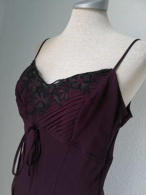 Wallis Abendkleid lang lila schwarz + Spitze + Perlen neu Gr. 14 40 M L Chiffonkleid gothic