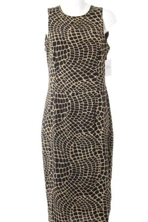 Wallis Abendkleid schwarz-hellbraun abstraktes Muster klassischer Stil