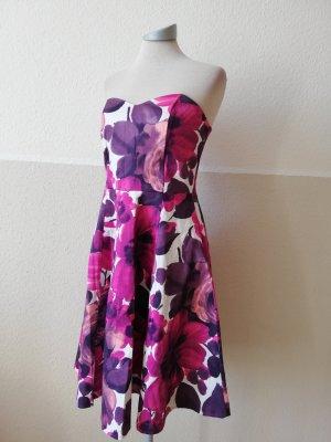 Wallis Bandeaukleid Kleid Trägerkleid weiß rosa Rosen Gr. UK 10 EUR 38 S M