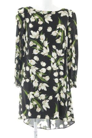Wallis Blusenkleid schwarz-grün Blumenmuster Casual-Look