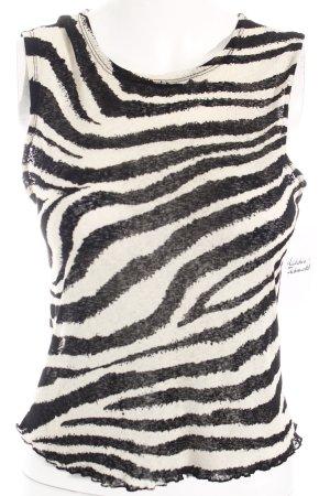 Wallis Top corto beige chiaro-nero motivo animale stile stravagante