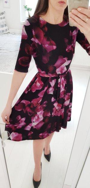 Wallis Floral Jerseykleid S/36 schwarz mit Abstract Blumenmuster