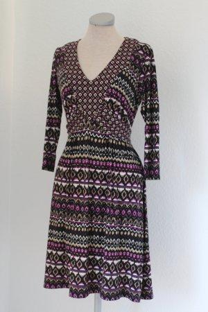 Wallis Herbstkleid lila schwarz Gr. UK 10 EUR 38 S M 3/4 Arm Jersey kurz knielang Kleid
