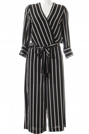 Wallis Jumpsuit schwarz-creme Streifenmuster Business-Look