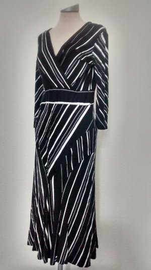 Wallis Kleid Gr. UK 14 EUR 42 schwarz weiß gestreift business wickeloptik