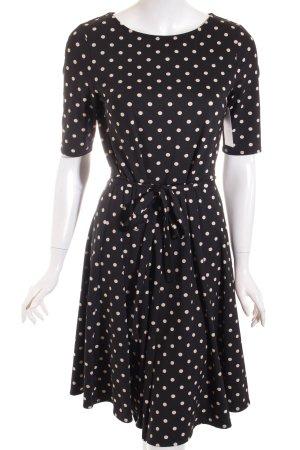 Wallis Midikleid schwarz-hellbeige Punktemuster Vintage-Look
