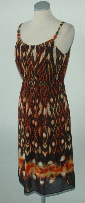 Wallis petite Kleid UK 12 EUR 40 38 S M braun orange schwarz Perlen goa hippie