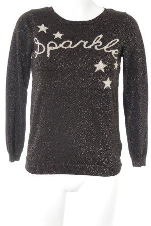 Wallis Kraagloze sweater zwart geborduurde letters casual uitstraling