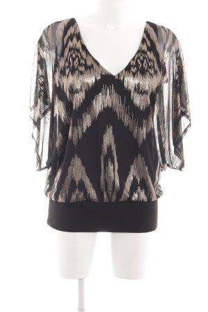 Wallis Schlupf-Bluse schwarz-bronzefarben abstraktes Muster Elegant