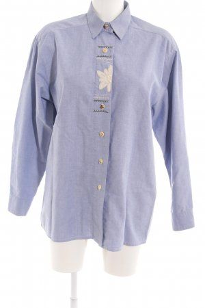 Wallmann Trachtenbluse stahlblau florales Muster Country-Look