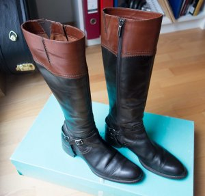 Walter Bauer Riding Boots black-cognac-coloured leather