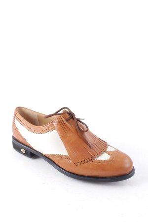 Walter Genuin Zapatos brogue coñac-crema estilo boyfriend
