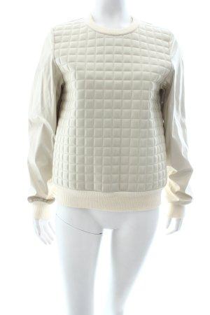 Wanda Nylon Kraagloze sweater beige quilten patroon leren uitstraling