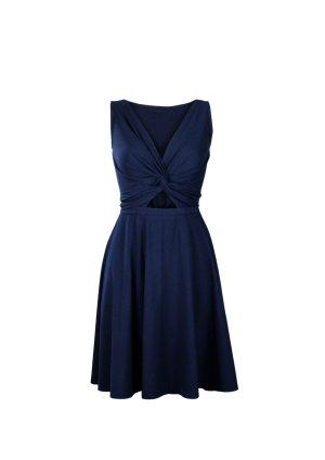 Vestido cruzado azul oscuro Algodón