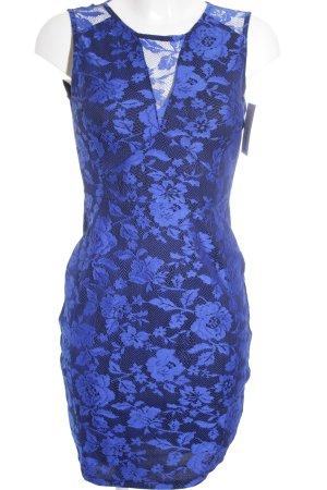 Warehouse Robe de soirée noir-bleu motif de fleur élégant