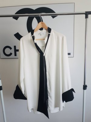 Warehouse Blusa collo a cravatta nero-bianco Poliestere