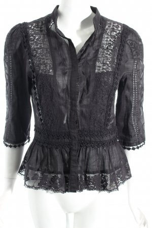 Warehouse Bluse schwarz Romantik-Look