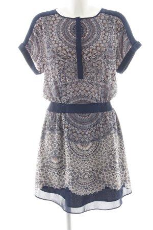 Warehouse Blouse Dress dark blue-apricot flower pattern casual look