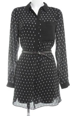 Warehouse Robe chemisier noir-blanc imprimé allover style décontracté