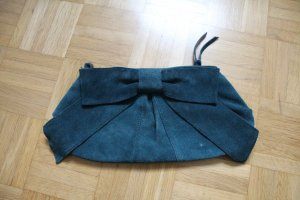Warehouse | Clutch Handtasche * Leder * Schleife * Nubukleder * Petrol Blau/Grün