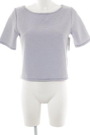 Warehouse Cropped Shirt weiß-schwarz Streifenmuster Casual-Look