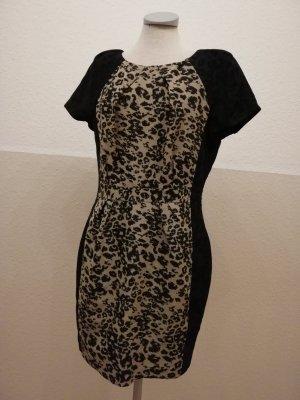 Warehouse Etuikleid Minikleid schwarz braun Leopard Leo Gr. UK 14 D 40 M L Rockabilly Partykleid
