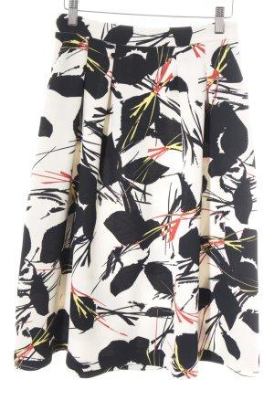 Warehouse Glockenrock wollweiß-schwarz florales Muster Casual-Look