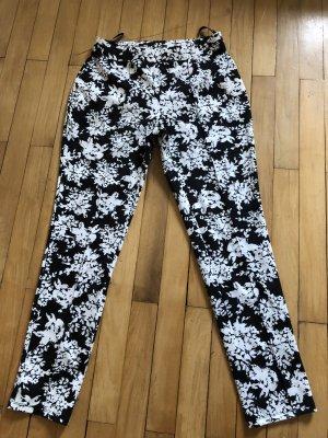 Warehouse Pantalón elástico blanco-negro