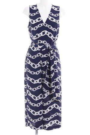 Warehouse Jumpsuit weiß-dunkelblau abstraktes Muster Elegant
