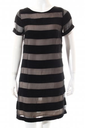 Warehouse Kleid creme-schwarz Streifenmuster Elegant