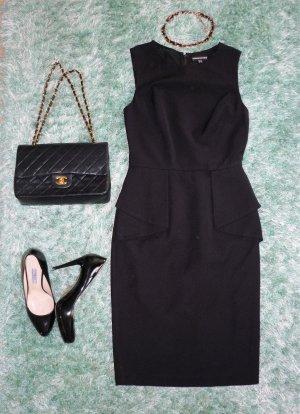 Warehouse Kleid Etuikleid Gr. 34 XS schwarz Schößchen Mesh Rücken