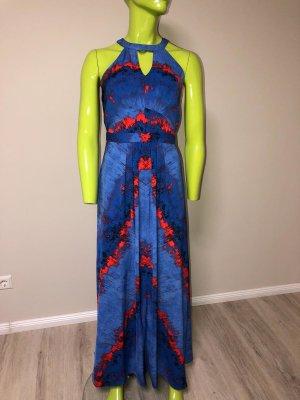 Warehouse Vestido azul-rojo