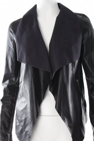 Warehouse Kunstlederjacke schwarz Stoffeinsätze
